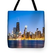 Chicago Skyline At Twilight Tote Bag