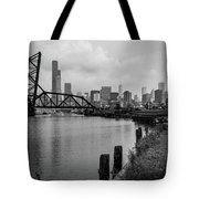 Chicago Skyline From The Southside In Black And White Tote Bag