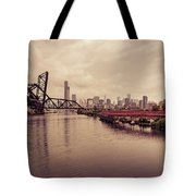 Chicago Skyline From The Southside With Red Bridge Tote Bag