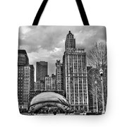 Chicago Skyline In Black And White Tote Bag