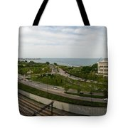 Chicago Skyline Showing Monroe Harbor Tote Bag