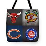 Chicago Sports Fan Recycled Vintage Illinois License Plate Art Bulls Blackhawks Bears And Cubs Tote Bag