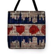 Chicago Sports Team Flag On Brick Tote Bag