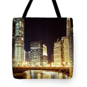 Chicago State Street Bridge At Night Tote Bag by Paul Velgos