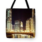 Chicago State Street Bridge At Night Tote Bag by Paul Velgos