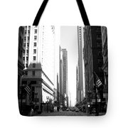 Chicago Street With Flags B-w Tote Bag