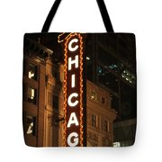Chicago Theater At Night Tote Bag