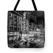 Chicago Theater In Black And White Tote Bag