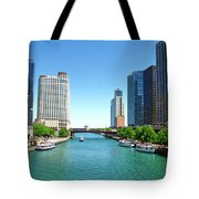 Chicago Tour Boats Parked On The River Tote Bag