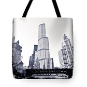 Chicago Trump Tower And Wrigley Building Tote Bag
