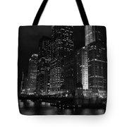 Chicago Wacker Drive Night Portrait Tote Bag