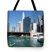 Chicago Watching The Kayaks On The River Tote Bag