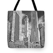 Chicago Water Tower Shopping Black And White Tote Bag
