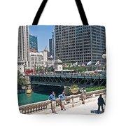 Chicago's Dusable Bridge On N. Michigan Avenue Tote Bag