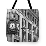 Chicago's Father Time Clock Bw Tote Bag