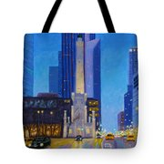 Chicago's Water Tower At Dusk Tote Bag