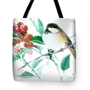 Chickadee And Berries Tote Bag