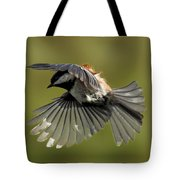 Chickadee In Flight Tote Bag