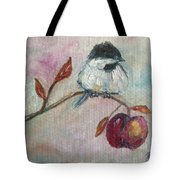Chickadee On An Apple Tree Tote Bag