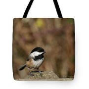 Chickadee On Wooden Fence Tote Bag