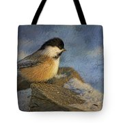 Chickadee Winter Perch Tote Bag