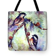 Chickadees On Twig Tote Bag