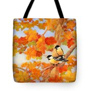 Chickadees With Oak Leaves Tote Bag