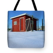 Chicken Coop In Snow Covered Field Tote Bag