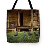 Chickens - Log House - Farm Tote Bag