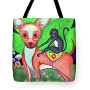 Chihuahuaw/monkie Tote Bag