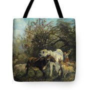Child And Sheep In The Country Tote Bag