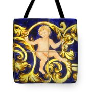 Child In Blue And Gold Tote Bag