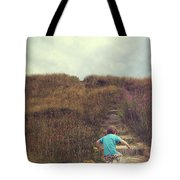 Child On Stairs On Beach Tote Bag