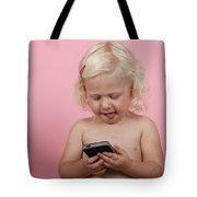 Child With Smartphone  Tote Bag