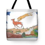 Childhood Drawing Cougar Attacking Deer Tote Bag