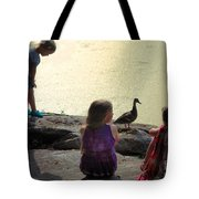 Children At The Pond 1 Tote Bag