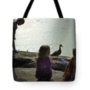 Children At The Pond 1 Version 2 Tote Bag