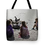 Children At The Pond 2 Tote Bag