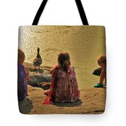 Children At The Pond 4 Tote Bag