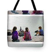 Children At The Pond Triptych Tote Bag
