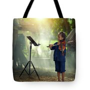 Children In Folk Costumes Playing Violin In Thailand Tote Bag