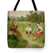 Children Listen To A Shepherd Playing A Flute Tote Bag
