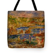 Children On The Beach At Guernsey Tote Bag