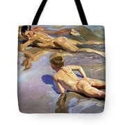 Children On The Beach Tote Bag by Joaquin Sorolla y Bastida