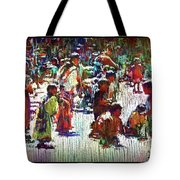 Children Picking Up Candy Tote Bag
