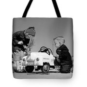 Children Play At Repairing Toy Car Tote Bag