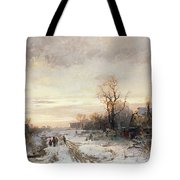 Children Playing In A Winter Landscape Tote Bag