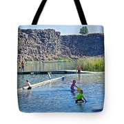 Children Playing In Dierkes Lake In Snake River Above Shoshone Falls Near Twin Falls-idaho  Tote Bag
