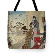 Children Playing In The Snow Under Plum Trees In Bloom Tote Bag