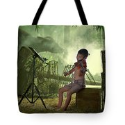 Children Playing Violin In The Folk Style. Tote Bag